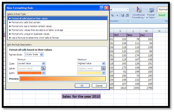 Conditional formatting in Excel® 2010